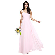 2017 Lanting bride® földig érő chiffon elegáns koszorúslány ruha - egy-line pántok szárny