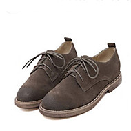 Women's Oxfords Fall Comfort Suede Casual Low Heel Lace-up Brown Khaki Almond Others