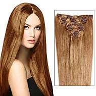πραγματική κλιπ σε επεκτάσεις ανθρώπινα μαλλιών υφάδι πλήρες κεφάλι 7pcs ύφανση μεταξένια ίσια μαλλιά remy ή 8pcs πολλών χρωμάτων για τις