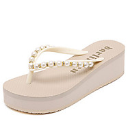 Women's Slippers & Flip-Flops Summer Slingback Polyester Casual Platform Imitation Pearl Black White Others