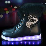 レディース-アウトドア カジュアル アスレチック-PUレザー-フラットヒール-コンフォートシューズ アイデア 靴を点灯-スニーカー
