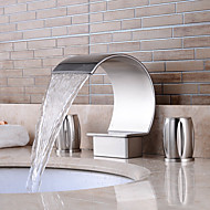 Separated Type Nickel Brushed Bathroom Luxury Waterfall Hot / Cold Faucet
