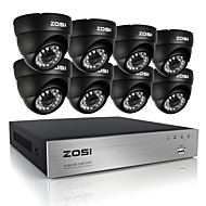 ZOSI®8CH CCTV System 8CH 720P AHD CCTV DVR 8PCS 1.0 MP HD IR Security Camera