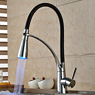 Contemporary Chrome Finish Color Changing LED Light Pullout Spray Deck Mounted Kitchen Faucet