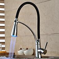 nutidige krom finish farve skiftende LED lys tilbagetrækning spray dæk monteret køkken vandhane