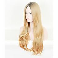Kylie Jenner estilo de onda longa agitado cabelo peruca de raiz preta perucas loira mix ombre