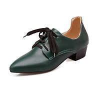 Women's Oxfords Spring Summer Fall Ankle Strap Comfort PU Office & Career Casual Athletic Low Heel Lace-up Black Brown Red GreenCycling