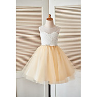A-line Knee-length Flower Girl Dress - Lace Tulle Scoop with Beading Lace Sash / Ribbon