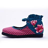 Women's Flats Spring Summer Fall Comfort Canvas Outdoor Dress Casual Flat Heel Flower Hook & Loop Blue Purple Walking
