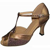 Customizable Women's Dance Shoes Sparkling Glitter Sparkling Glitter Latin Sandals Stiletto Heel Practice Beginner Outdoor Gold