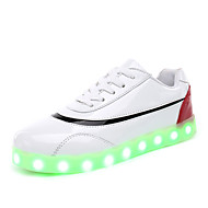 Girl's Sneakers Spring Summer Fall Winter Comfort Patent Leather Outdoor Casual Athletic Flat Heel LED Black White