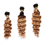 3 Bundles TRES JOLIE Deep Wave 100% Human Hair Ombre Weaves Brown to Blonde Human Hair Weaves