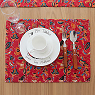 Square Print / Patchwork Placemat , Cotton Blend Material Hotel Dining Table / Table Decoration