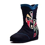Women's Boots Spring Fall Winter Comfort Canvas Outdoor Dress Casual Flat Heel Ribbon Tie Flower Black Blue Red Walking