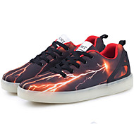 Unisex Athletic Shoes Spring Summer Fall Winter Comfort Novelty Light Up Shoes PU Outdoor Athletic Casual Flat Heel Lace-up LED Black Pink