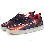 Unissex-Tênis-Conforto Inovador Light Up Shoes-Rasteiro-Preto Rosa-Couro Ecológico-Ar-Livre Casual Para Esporte