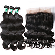 360 Lace Frontal Closure with Bundles Body Wave Brazilian Virgin Human Hair Weaves 3 Bundles with One 360 Frontal