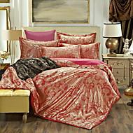 4pcs bedtoppings להגדיר כיסוי בשמיכת שמיכת שמיכה 1 מלכה / 1 פולי תערובת עשירה שטוחה גיליון / 2 ציפית אקארד דפוס כותנה