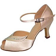 Customizable Women's Dance Shoes Satin Satin Latin Sandals Stiletto Heel Practice Beginner Outdoor Almond