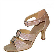 Customizable Women's Dance Shoes Flocking Sparkling Glitter Latin Jazz Swing Shoes Salsa Sandals Heels