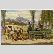 Ručně malované Zvíře Abstraktní krajinka Olejomalby + tisky,Moderní Pastýřský Jeden panel Plátno Hang-malované olejomalba For Home
