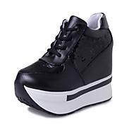 Women's Sneakers Fall Winter Platform Comfort Leatherette Outdoor Dress Platform Sequin Lace-up Black White Walking
