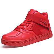 Herren-Sneaker-Outddor Lässig Sportlich-PU-Flacher Absatz-Komfort-Schwarz Blau Rot