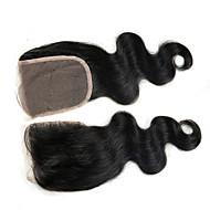 4x4 Closure Body Wave Human Hair Closure Light Brown Chinese Lace 100G gram Petite Cap Size