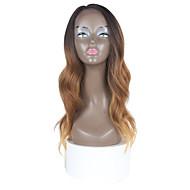 syntetisk blonde dybe usynlige l del parykker brun farve naturlige bølge ombre hår
