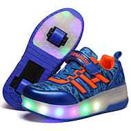 Jungen-Stiefel-Sportlich-Leder-Flacher Absatz-Komfort Light Up Schuhe-Blau Lila