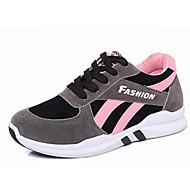 Women's Sneakers Winter Platform Suede Casual Flat Heel Platform Lace-up Black Gray Walking