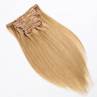 grampo em extensões de cabelo longos pedaços de cabelo retas 15 18 20 22 polegadas 7 pcs / set 70g por conjunto