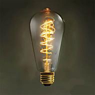1 шт. Zweihnder E26/E27 40W 1 COB 500 lm Тёплый белый ST64 edison Винтаж LED лампы накаливания AC 220-240 V