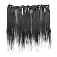 5 Clips 18Inch Clip In Human Hair Extensions 41g Pure Color Straight Hair