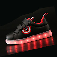 Boy's Sneakers Fall Winter Comfort Light Up Shoes PU Athletic Flat Heel LED Black White