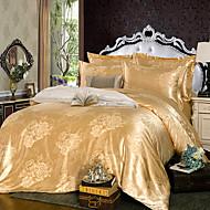 literie de jacquard de soie d'or fixe 4pcs taille complète queen (certains clients peuvent avoir reçu l'ancien design)