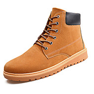 Men's Boots Comfort PU Spring Fall Outdoor Comfort Lace-up Flat Heel Dark Blue Light Brown Dark Brown Flat