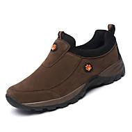 גברים-נעליים ללא שרוכים-עור-נוחות-חום אפור ירוק צבאי-יומיומי-עקב שטוח