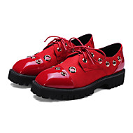 Women's Oxfords Spring Fall Comfort Novelty Ankle Strap PU Athletic Casual Chunky Heel Rivet Split Joint Lace-up Black Red Gray Hiking
