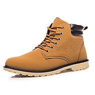Men's Boots Winter Comfort PU Casual Flat Heel Lace-up Black / Blue / Yellow Sneaker