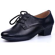Obyčejné-Dámské-Taneční boty-Jazz-Kůže-Na zakázku-Černá