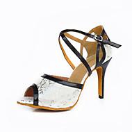 Obyčejné-Dámské-Taneční boty-Latina Moderní Slasa-Satén Kůže Leštěná kůže-Na zakázku-Bílá Bílá / zelená