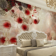 Virágos Art Deco 3D Wallpaper Otthoni Kortárs Falburkolat , Vászon Anyag ragasztószükséglet Falfestmény , szoba Falburkoló