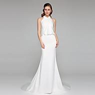 2017 Lanting Bride® Trumpet / Mermaid Wedding Dress - Elegant & Luxurious Open Back Court Train High Neck Charmeuse with Criss-Cross