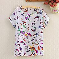 Femei Rotund Bluză Casul/Zilnic Simplu(ă),Imprimeu Manșon scurt Vară-Multi-color Subțire