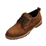 Men's Oxfords Spring Fall Comfort Fabric Athletic Flat Heel Lace-up Brown Yellow Chocolate