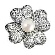 בצורת מניפה קלאסי כפתור צעיף וזר פרחים סיכה סיכה תכשיטים אולטרה-דק עם שרשרת ארוכה