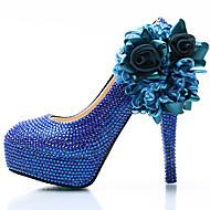 Feminino-Saltos-Conforto Inovador-Plataforma Salto Alto de Cristal-Azul-Seda Couro Ecológico-Casamento Festas & Noite