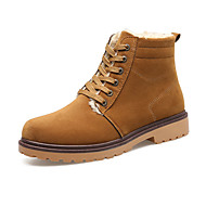 Men's Boots Winter Comfort Fabric Casual Flat Heel Lace-up Black Brown Walking
