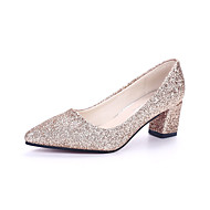 Women's Heels Spring Summer Fall Comfort Fabric Office & Career Casual Chunky Heel Sequin Black Silver Gold Light Pink Walking